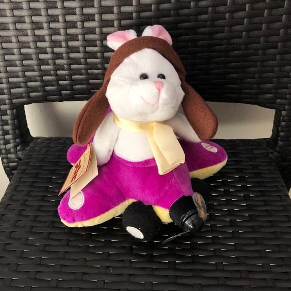 singing pilot bunny stuffed animal plush toy